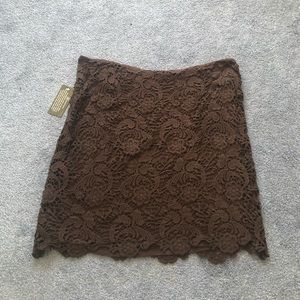 Inc international concepts brown lace skirt NWT 4